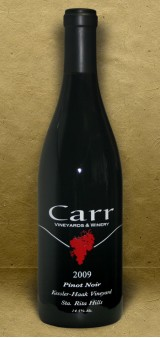 Carr Winery, Kessler-Haak Vineyard, Sta. Rita Hills 2009 Pinot Noir Red Wine
